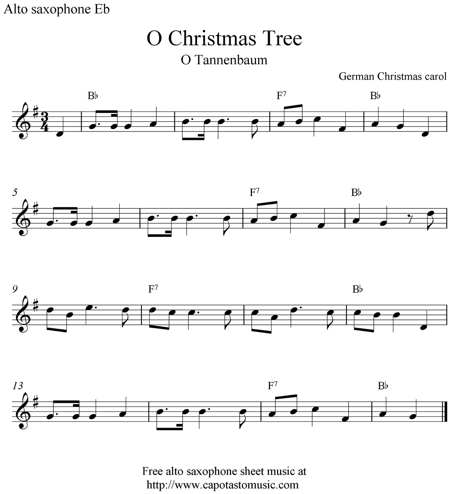 Free sheet music for alto sax christmas songs