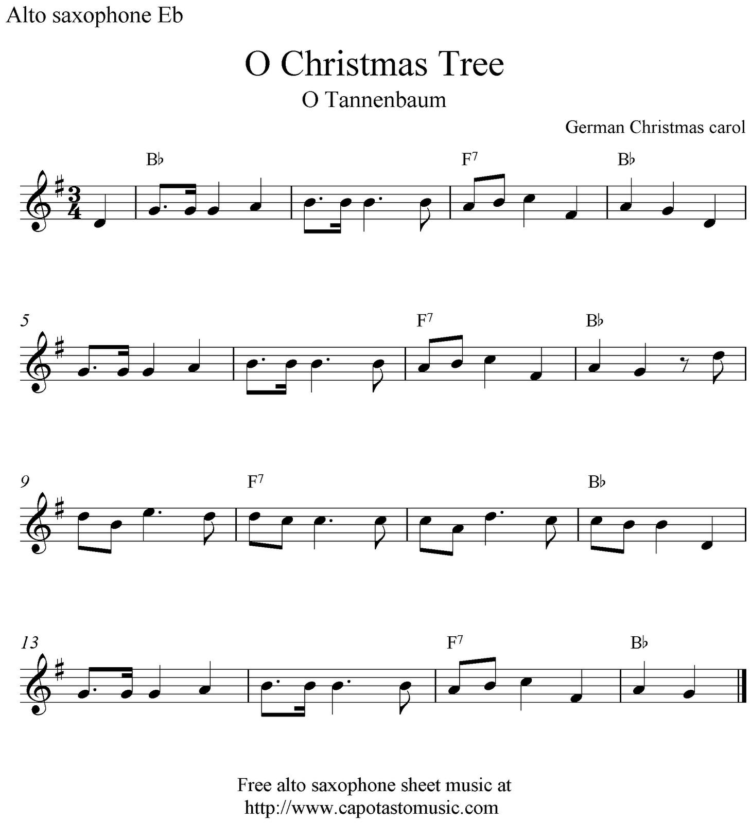 O Christmas Tree (O Tannenbaum), free Christmas alto saxophone sheet ...