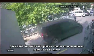 A screenshot from CCTV showing the diplomatic vehicles leaving  the Saudi consulate in Istanbul