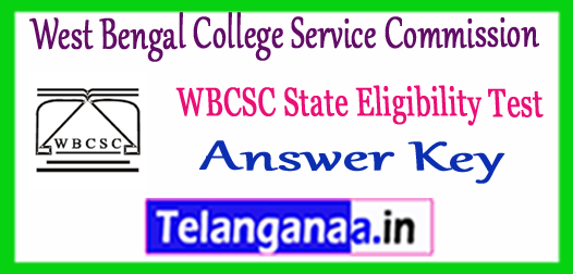 WBCSC West Bengal College Service Commission SET Answer Key 2018