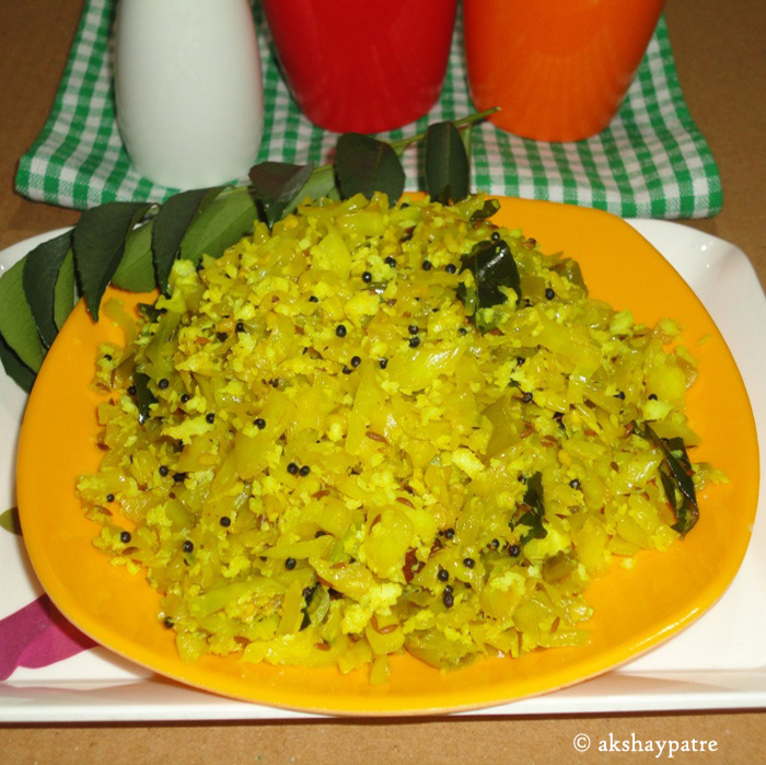 cabbage poriyal in a serving plate