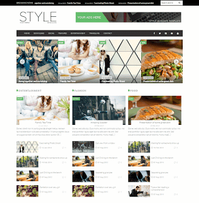 Style responsive multiple slider blogger template for food bloggers, photographers, multipurpose blog template for free