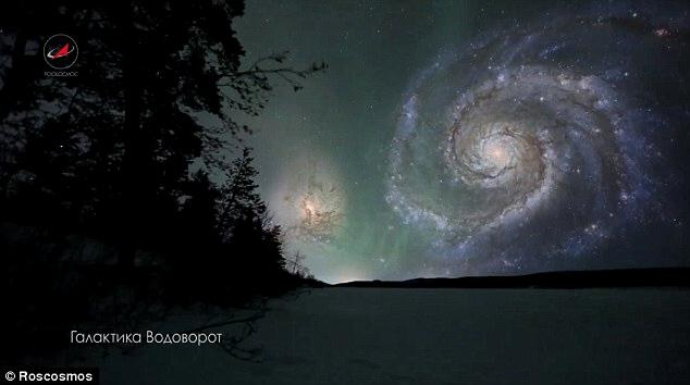 Galáxia do rodamoinho no céu