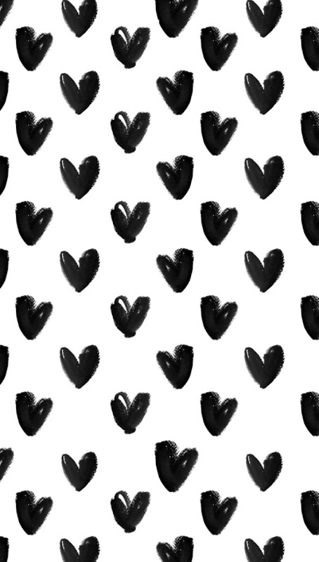 black white watercolour hearts iphone background wallpaper phone