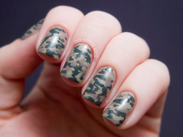 Camo nails by chalkboard nails.com