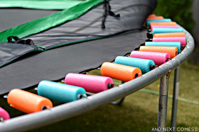 Simple trampoline safety hack: use pool noodles to cover springs from And Next Comes L