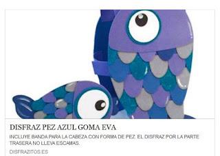 disfraz de pez azul de goma eva