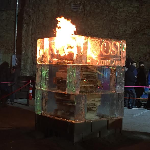 Ice on fire impressed the crowds at Stroll on State in Rockford, IL.