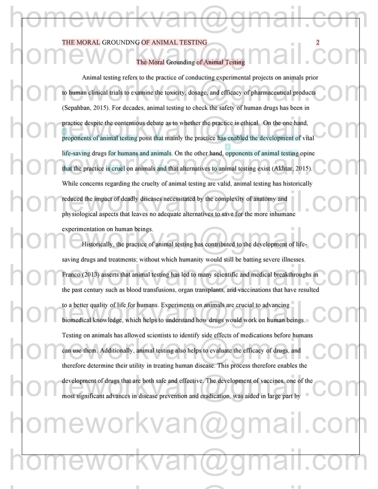 homeworkvan official blog the following is plagiarism report for the moral grounding of animal testing final research essay sample by homeworkvan