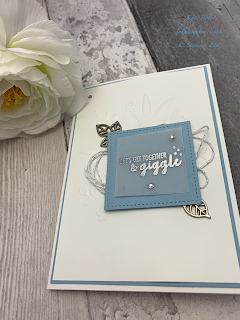 Card made using Let's get together and giggle from the Part Of My Story Saleabration Stamp set. Embossed in silver.