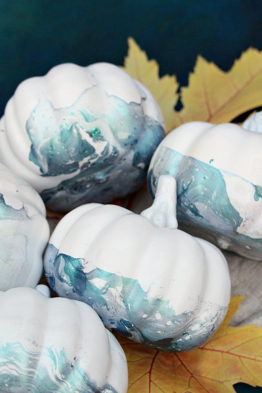 No Carve Marbled Pumpkins in Shimmery Teal