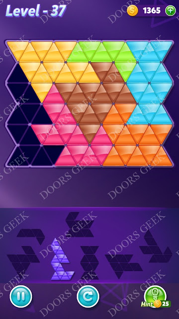 Block! Triangle Puzzle Advanced Level 37 Solution, Cheats, Walkthrough for Android, iPhone, iPad and iPod
