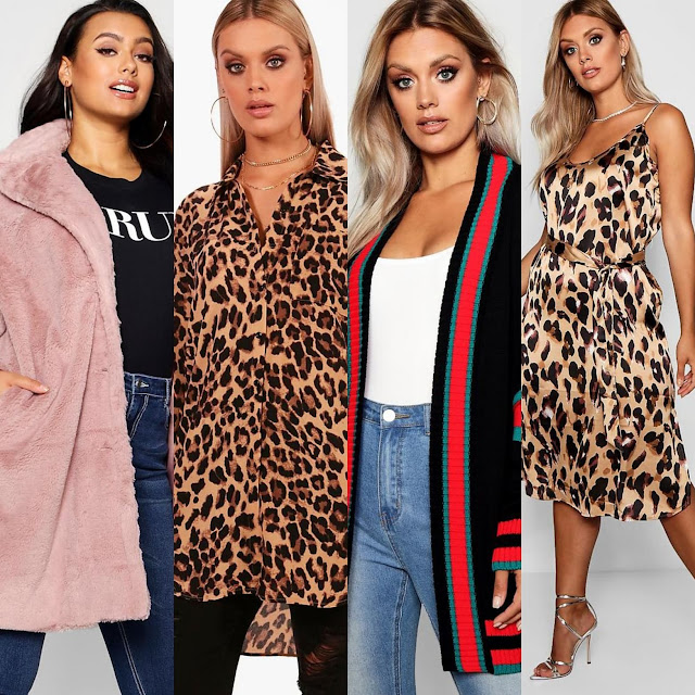 Plus Collared Faux Fur Coat ||  || Plus Leopard Print Oversized Shirt || Plus Contrast Stripe Oversized Cardigan || Plus Libby Leopard Print Strappy Midi Dress