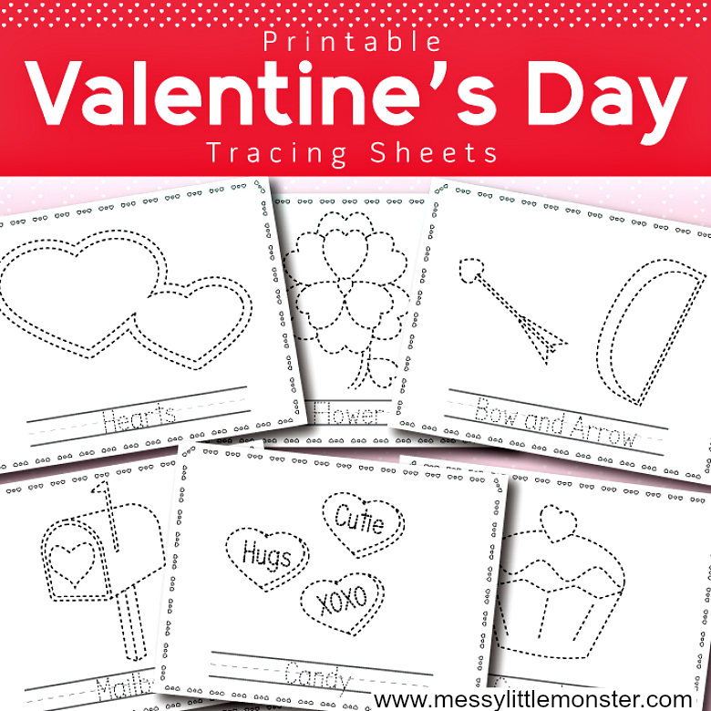 8 Valentine's Day themed printable tracing worksheets for kids. This love themed pack of tracing sheets are designed with preschoolers working on pencil control. fine motor skills and learning letters in mind. This tracing activity pack includes pictures of hearts, a flower, a bow and arrow, a cupcake, cupid, a mailbox, candy and a gift for children to trace and colour.