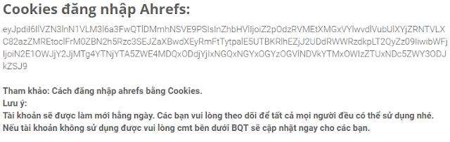 Cookies tài khoản Ahrefs