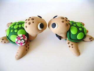 unique turtles wedding cake topper