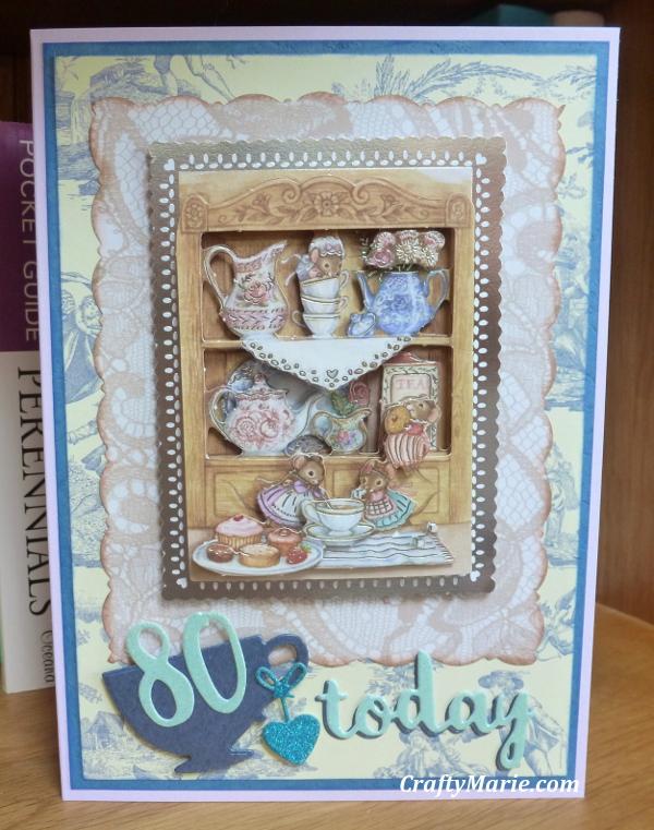 Teatime 3D decoupage card Anitas mice tea theme with teacup die 80th Birthday card handmade die cutting