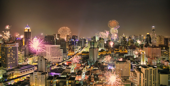 City of Bangkok during new year celebration