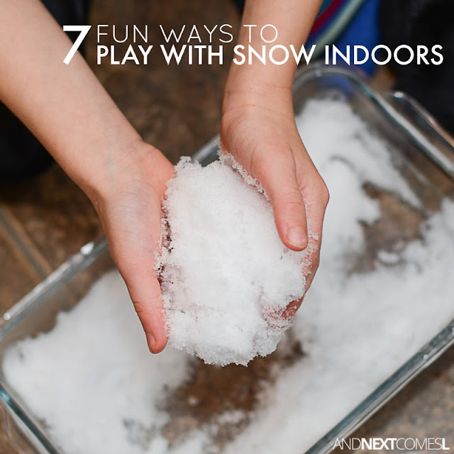 7 fun ways for kids to play and learn with snow indoors from And Next Comes L