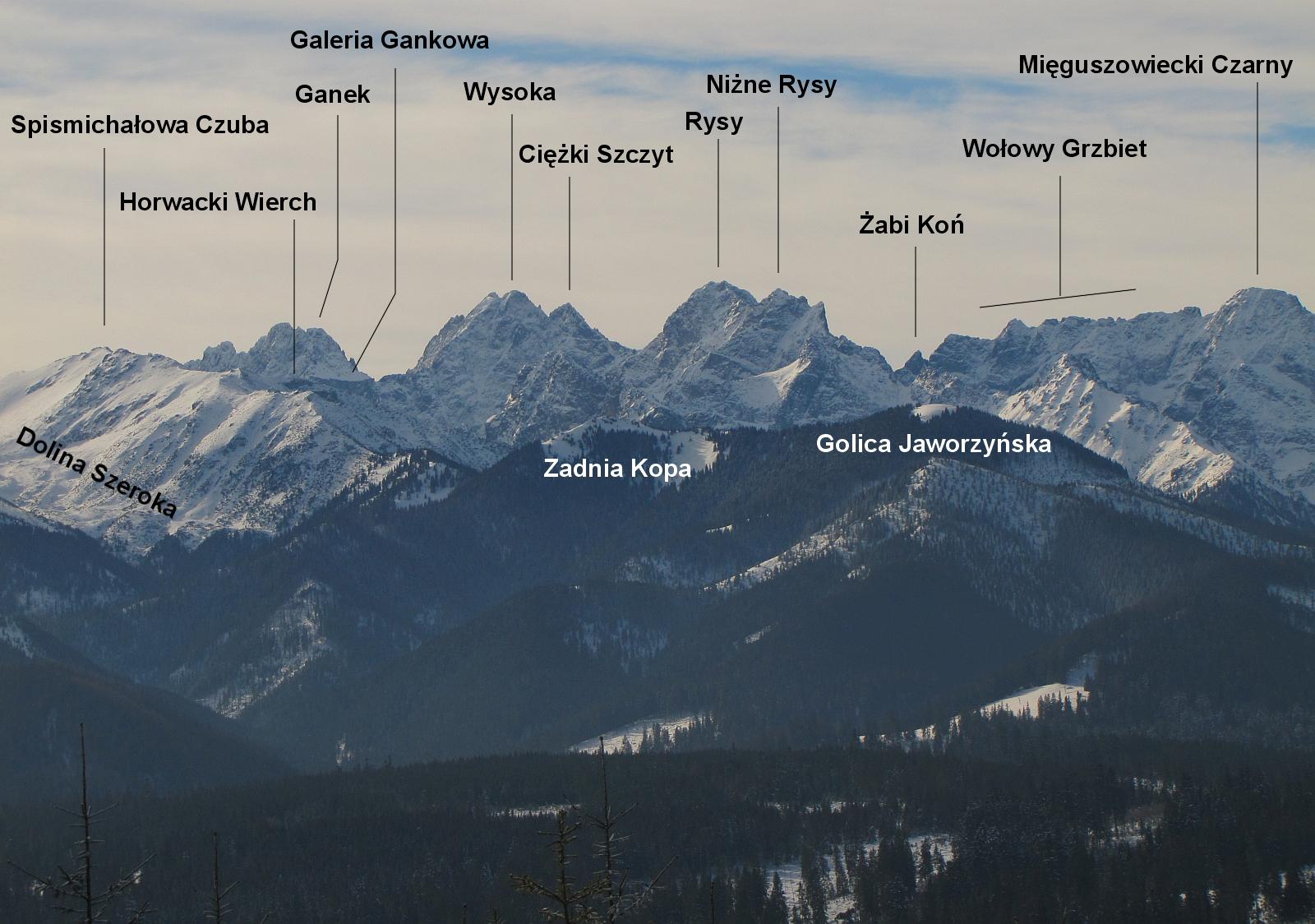 Ganek, Wysoka, Ciężki Szczyt, Rysy, Wołowy Grzbiet, Mięguszowiecki Czarny.