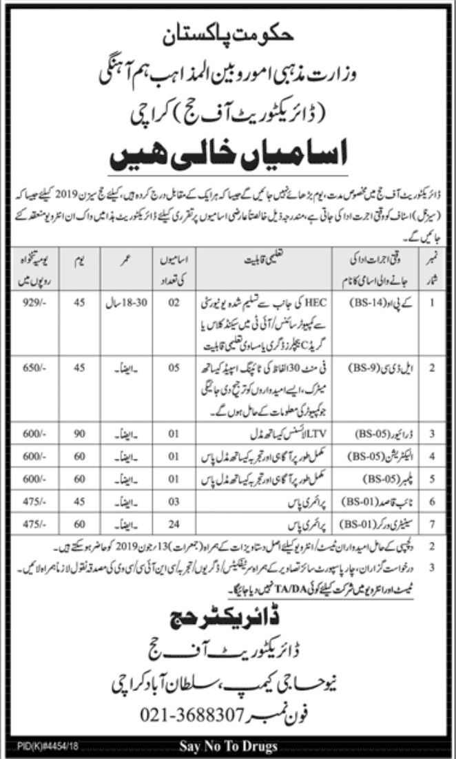 Ministry Of Religious Affairs Karachi Jobs 2019 Jobs in Pakistan Official Advertisements