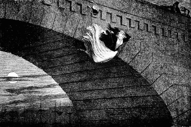 a George Cruikshank illustration of s suicidal woman jumping from a bridge