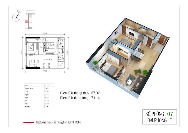 Thiết kế chi tiết căn hộ số 07: 67,02m2