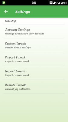 Download unlimited wth Etisalat remote weak on Tweakware v5.8