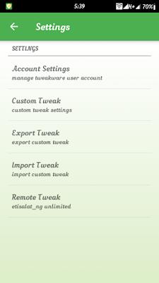 Download unlimited wth Etisalat remote weak on Tweakware v5.8