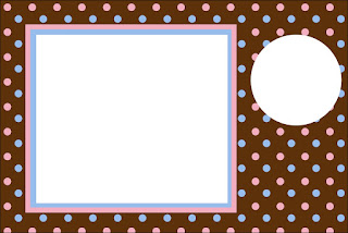 Pink and Light Blue Polka Dots in Chocolate Free Printable Invitations, Labels or Cards.