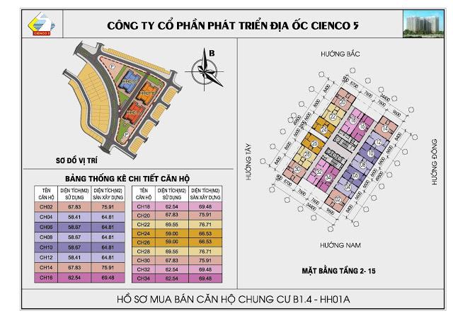 Mặt bằng tổng thể tầng 2 đến tầng 5 chung cư b1.4-hh01a