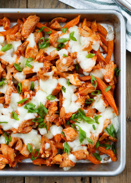 BBQ Chicken and Cheese Curd Fries - an easy weeknight recipe that the whole family will love! get the recipe at barefeetinthekitchen.com