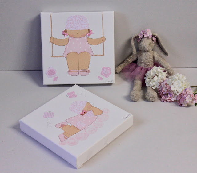 cuadros infantiles de niñas pintados a mano,   decoración infantil personalizada