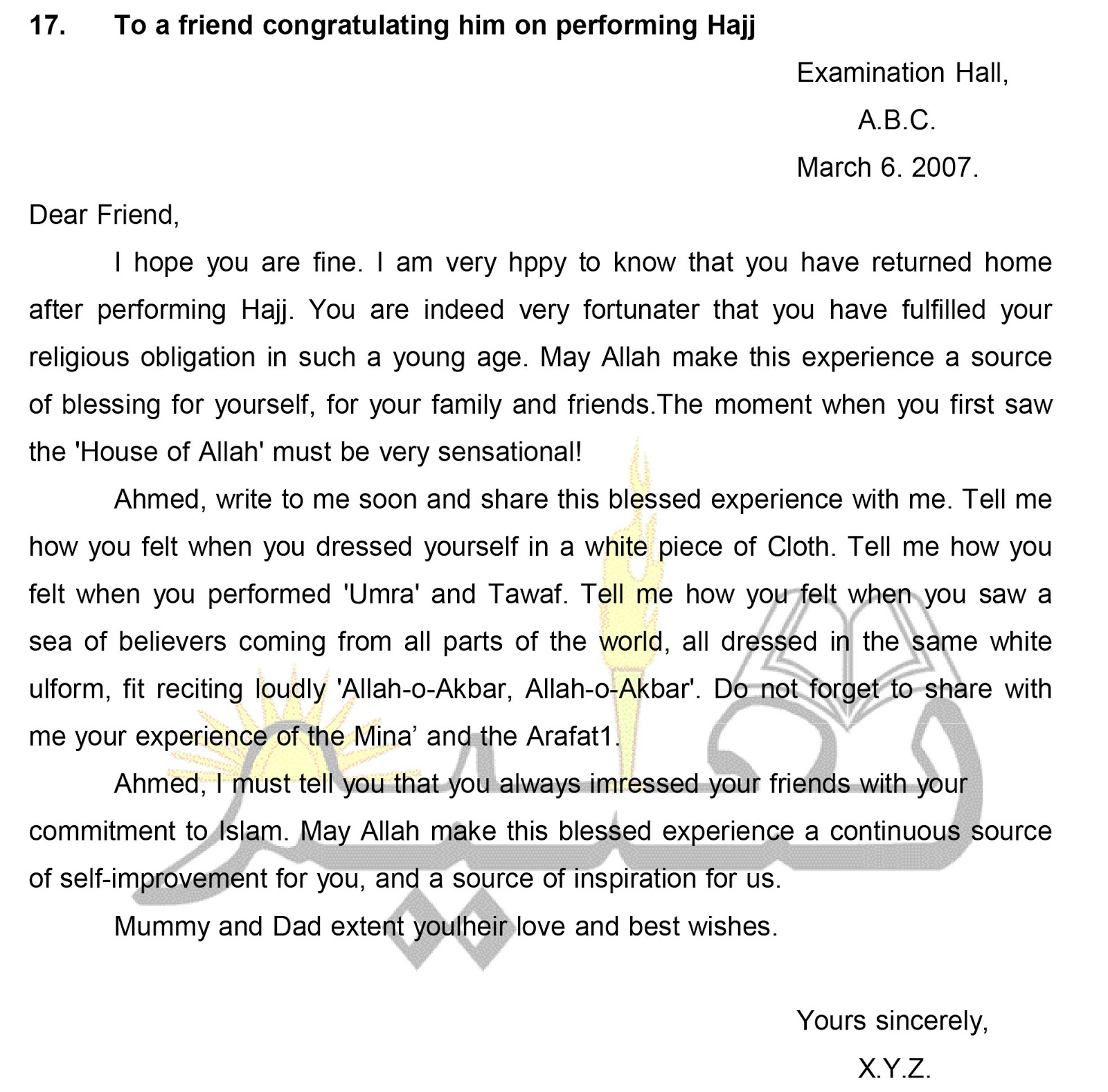 to a friend congratulating him on performing hajj