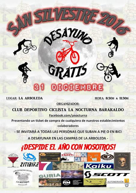 Cartel del desayuno ciclista en La Arboleda