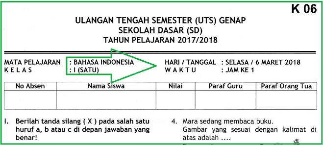 Soal UTS 2 Bahasa Indonesia Kelas 1 SD Terbaru dan Kunci Jawaban