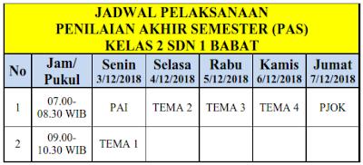 Jadwal Penilaian Akhir Semester (PAS)