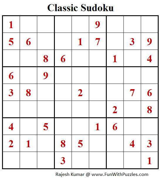 Classic Sudoku Puzzles (Puzzles for Teens #207)