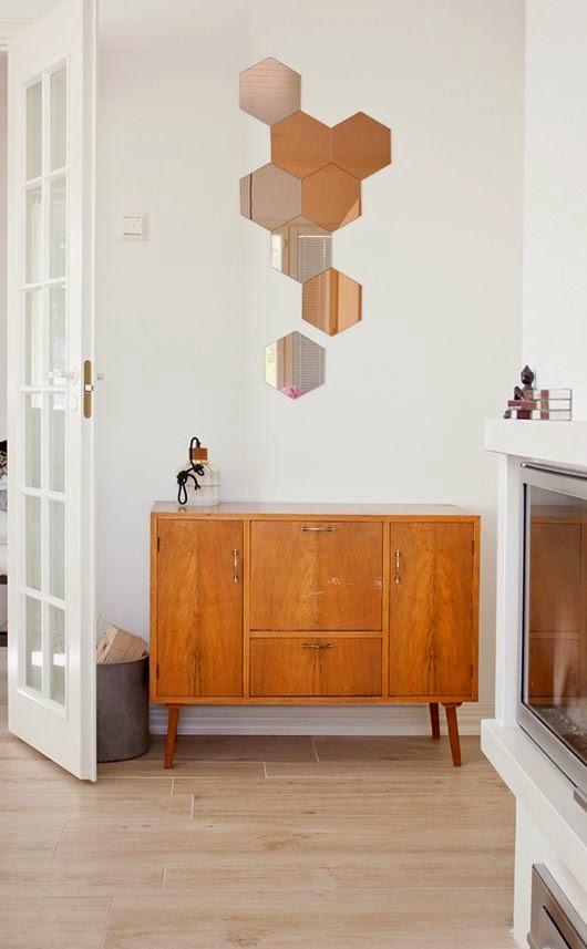 Espejos hexagono panal decoracion danesa nordica