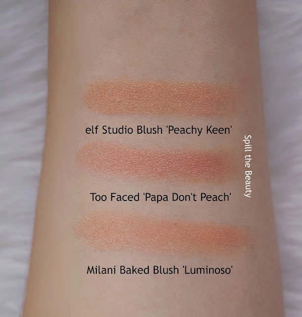 too faced papa dont peach peach infused blush review swatches dupe elf peachy keen milani luminoso