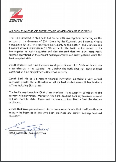 Fayose Lied, We Didn't Give Him One Kobo For His Reelection - Zenith Bank Issues Statement, See Copy