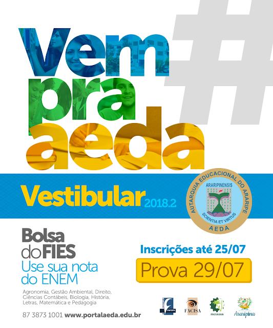 AEDA promove Vestibular 2018.2 com vagas para ENEM e acesso ao FIES