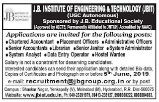JBIT Administrative Officers/Librarian/Data Entry Operators Jobs in J.B. Institute of Engineering & Technology 2019 Recruitment, Hyderabad