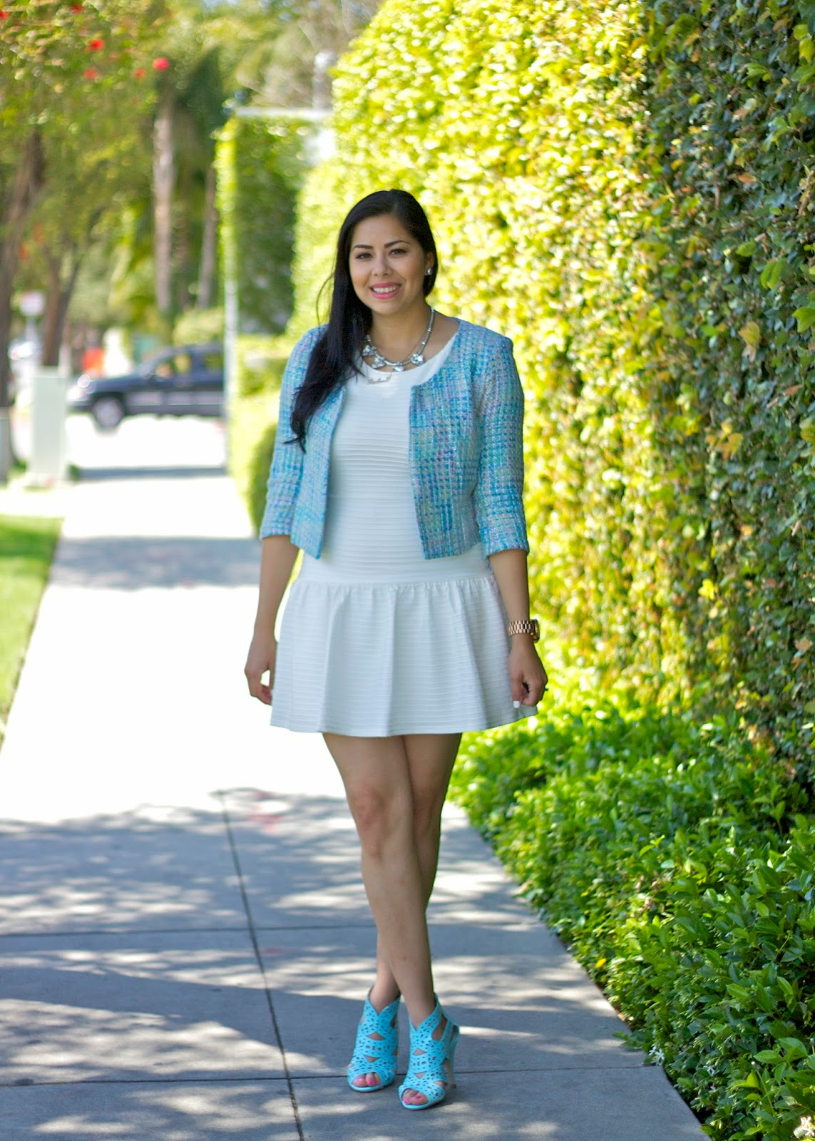 Baby blue shoes, shoedazzle carlotta shoe, luckyfabb outfit