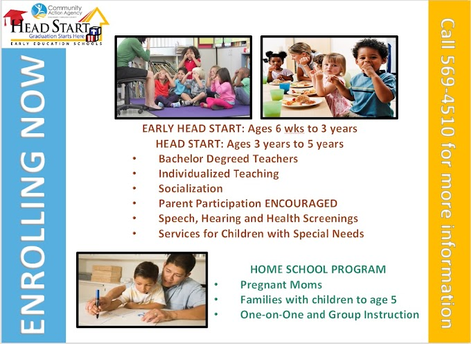 Now Enrolling for Head Start, Early Head Start, & Home-based Head Start Programs