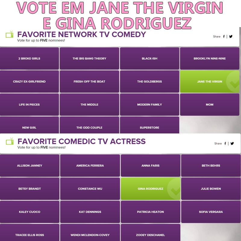 Vamos votar em #JanetheVirgin e #GinaRodriguez People's Choice Awards 2017