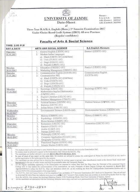 DATE SHEET OF 3 YR B.A./B.A. ENGLISH (HONS.) 1ST SEM EXAM