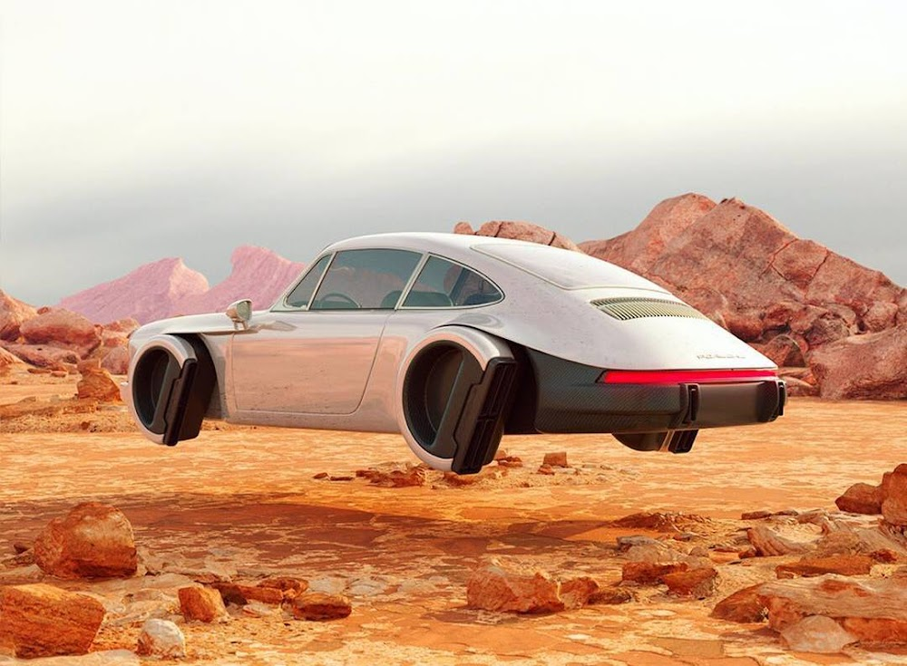 Hovering Porsche 911 on Mars by Chris Labrooy