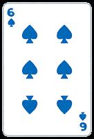 トランプのスペードのイラスト(数字・6)