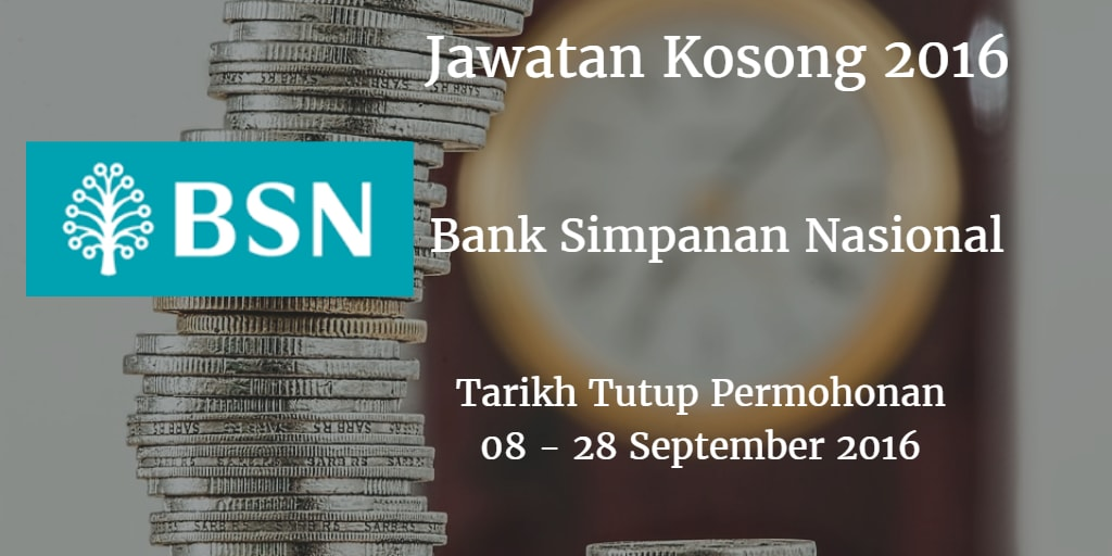 Jawatan Kosong BSN 08 - 28 September 2016